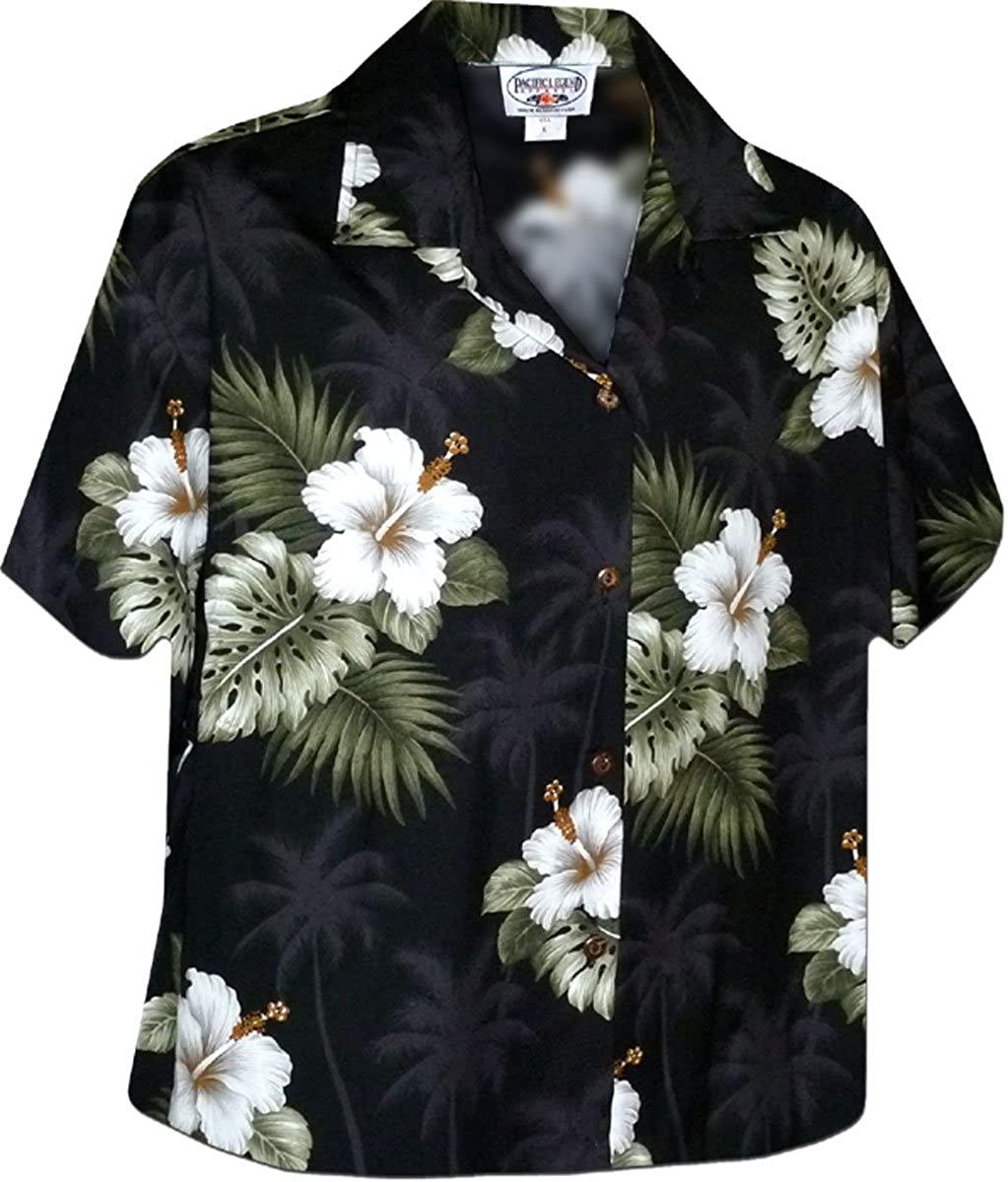 Hibiscus Islands Women's Aloha Shirts Black