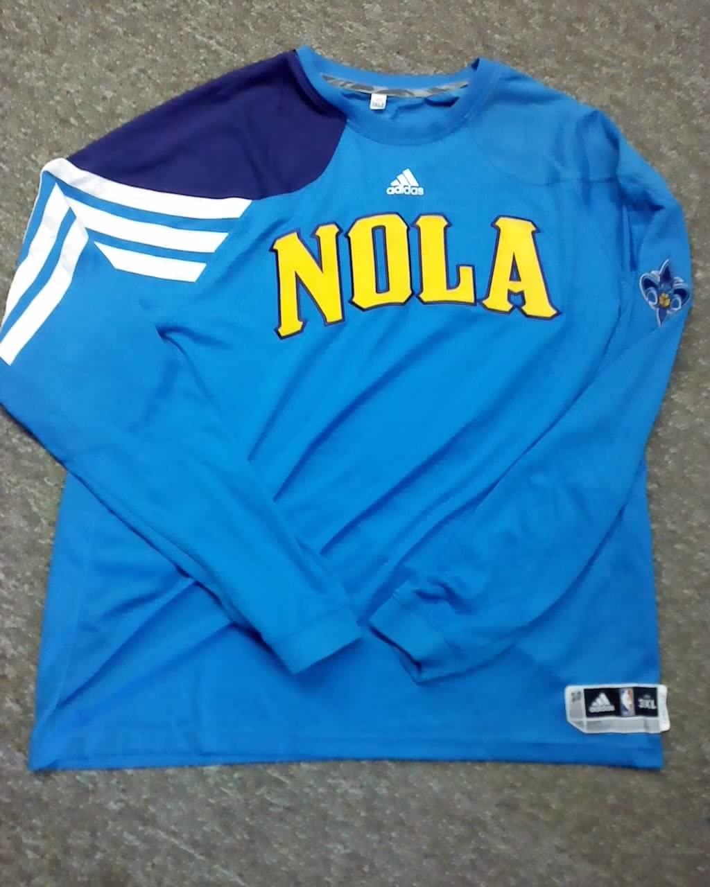 Chris Johnson New Orleans Hornets 2011-2012 NOLA Game Worn L/S Shooting Shirt