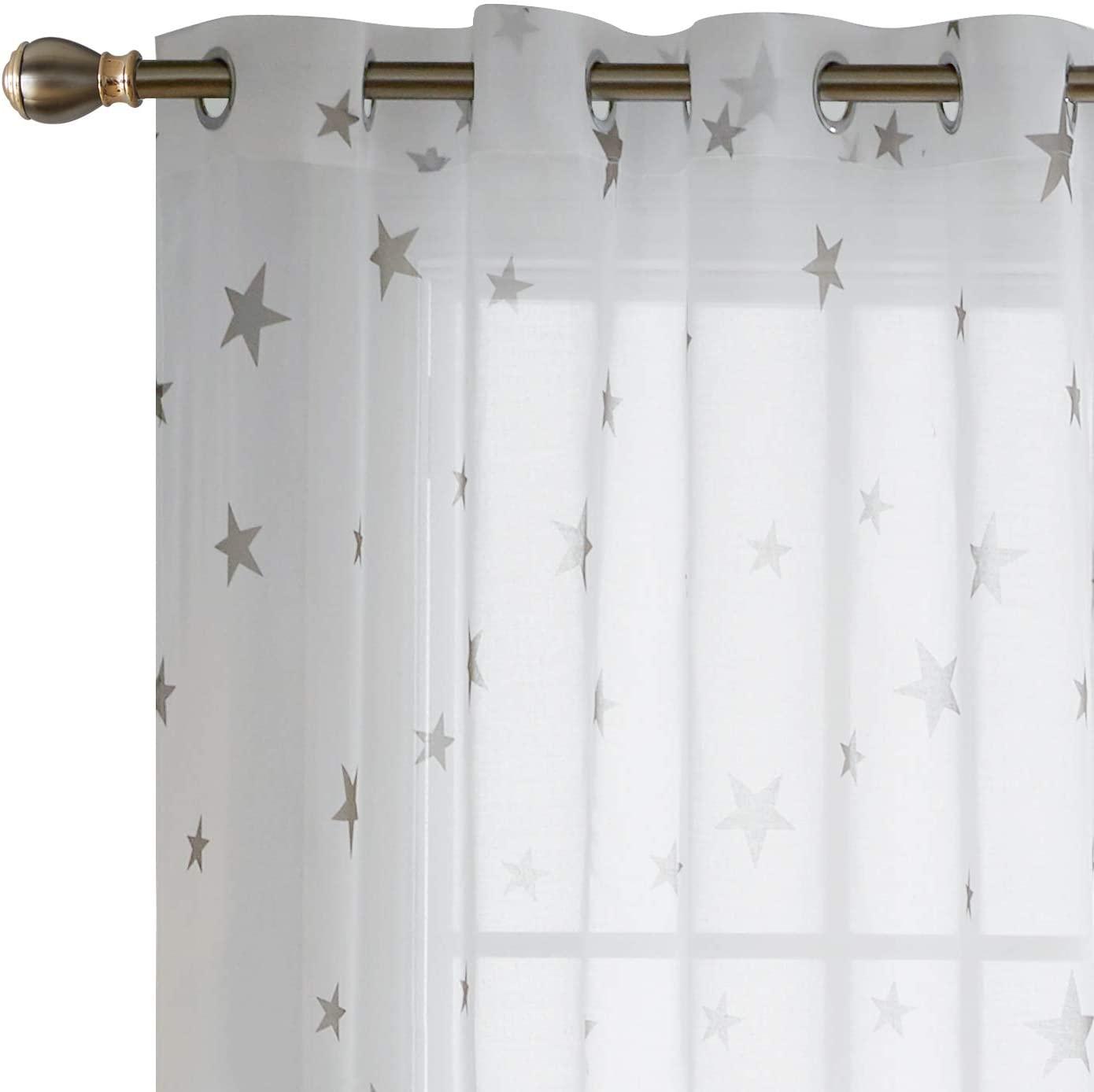 Deconovo White 84 Inch Length Grommet Voile Drape Star Sheer Curtains for Girls Room, 52x84, Light Taupe