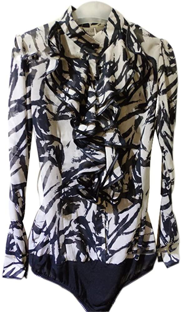 ZAMME Women's Long Sleeve Chiffon Leopard Slim Shirt Bodysuit Top Blouse