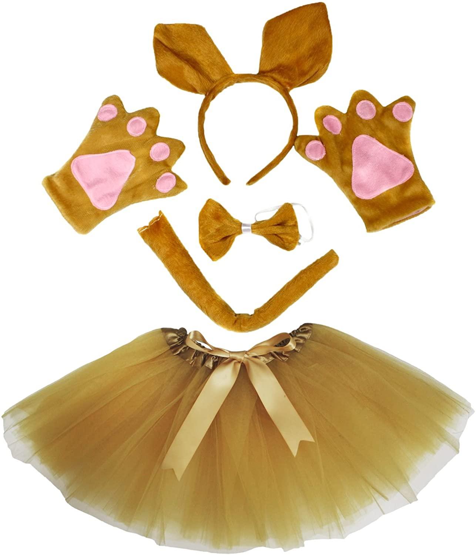Petitebella Kangaroo Costume Headband Bowtie Tail Glove Brown Tutu Set for Lady (One Size)