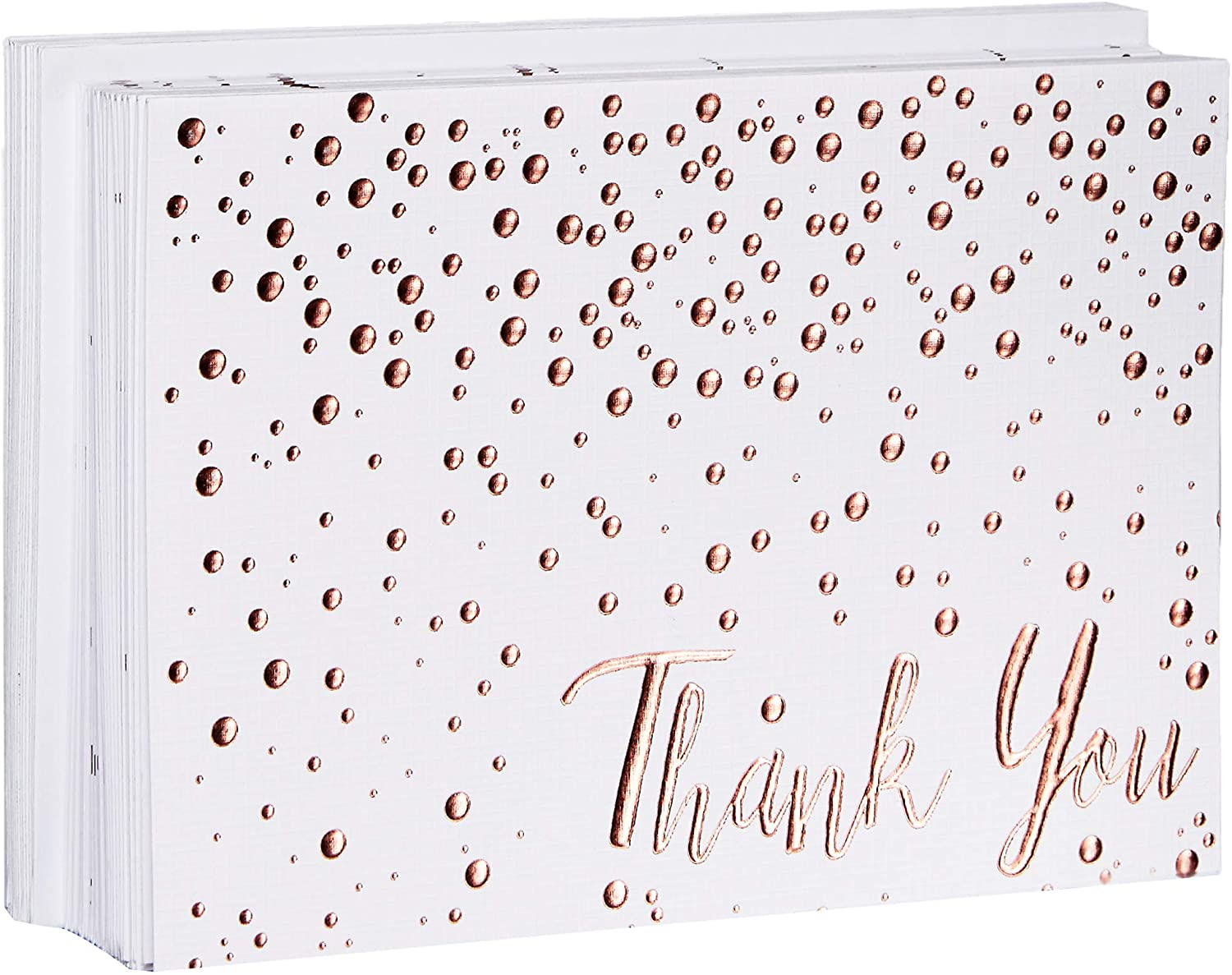 Thank You Cards - 20 Pack of (A7) 5x7 Rose Gold Confetti Premium Heavyweight Cards and Rose Gold Foil Lined Envelopes - Large Enough To Include a 4x6 Photo Inside