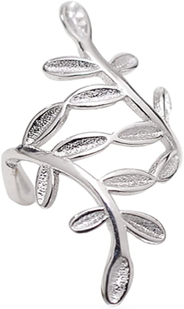 Helen de Lete Encircled Leaves Sterling Silver Open Ring Laurel Leaf Branch Adjustable Ring