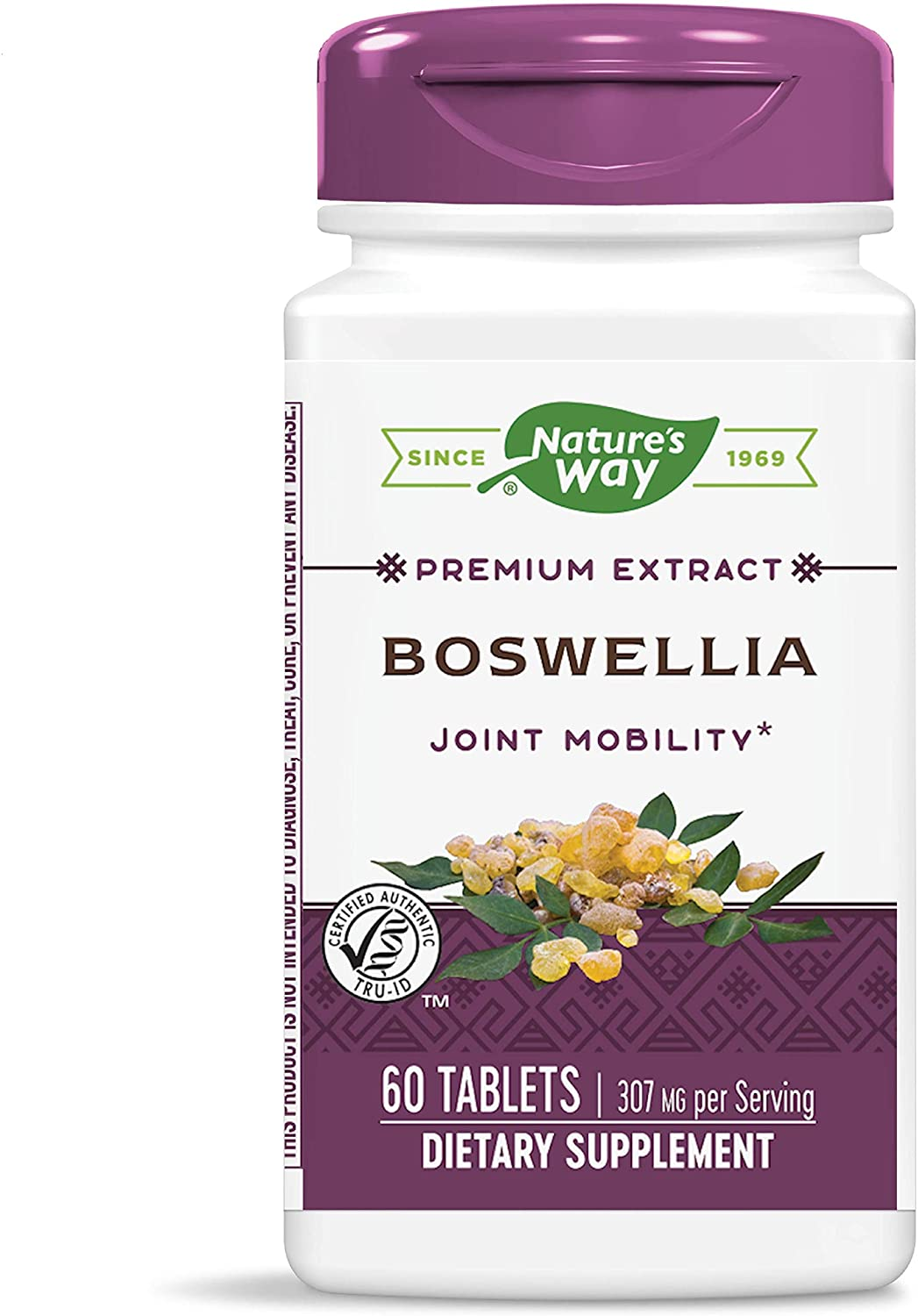 Natures Way Standardized Boswellia, 307 mg per serving, 40% Boswellic Acids per serving, TRU-ID Certified, Vegetarian, 60 Tablets (Packaging May Vary)
