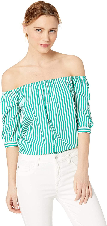 BB Dakota Women's Button Me Up Striped Cotton Off-The-Shoulder Top