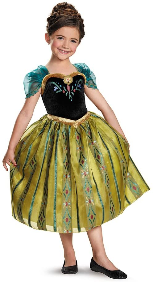 Disney's Frozen Anna Coronation Gown Deluxe Girls Costume, Small/4-6x