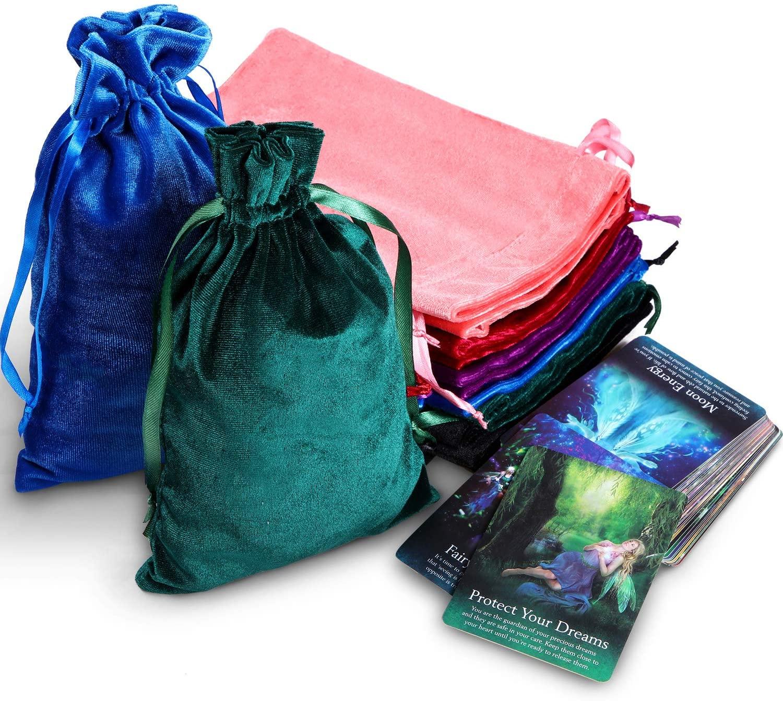 Velvet Tarot Rune Bag Drawstring Velvet Pouch Moss Green, Royal Blue, Purple, Wine, Ross, Black 7 x 9 Inch (12 Pieces)