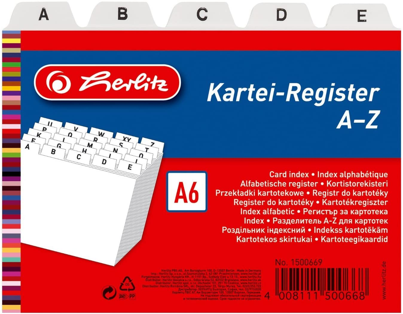 Herlitz A6 A-Z Index Card Register - White