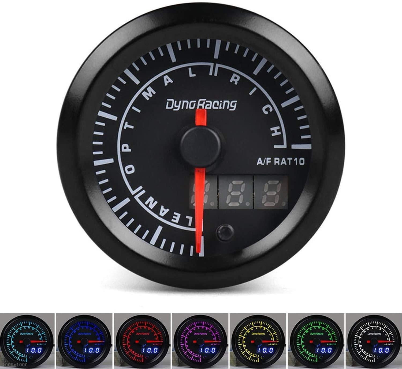 YAZHI-MILA Easy to Install 52mm Dual Display Air Fuel Ratio Gauge 7 Colors Air Fuel Ratio Meter Car Meter with Stepper Motor Air/Fuel Gauge Voltmeter