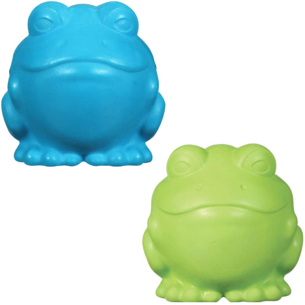 MMS Gifts Frog Dog Toys 1 Blue 1 Green Durable Chewy Entertainment for Small to Medium Breeds Set of 2