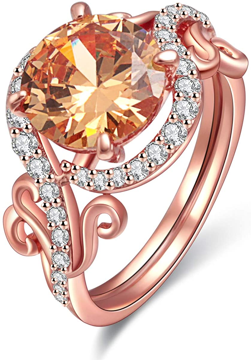 JIANGYUE Exquisite Lady Rings AAA Cubic Zirconia Rose Gold Plated Ring Party Charming Elegant Jewelry Size 5-10