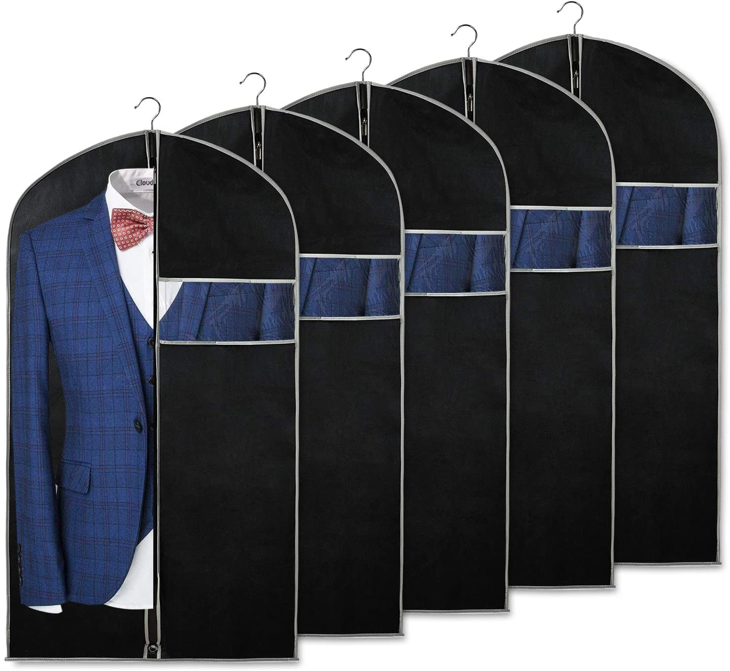 Syeeiex 40 inch Suit Bags for Storage and Travel with Clear Window and ID Card Holder for Suit, Jacket, Skirt, Shirt and Coat, Set of 5