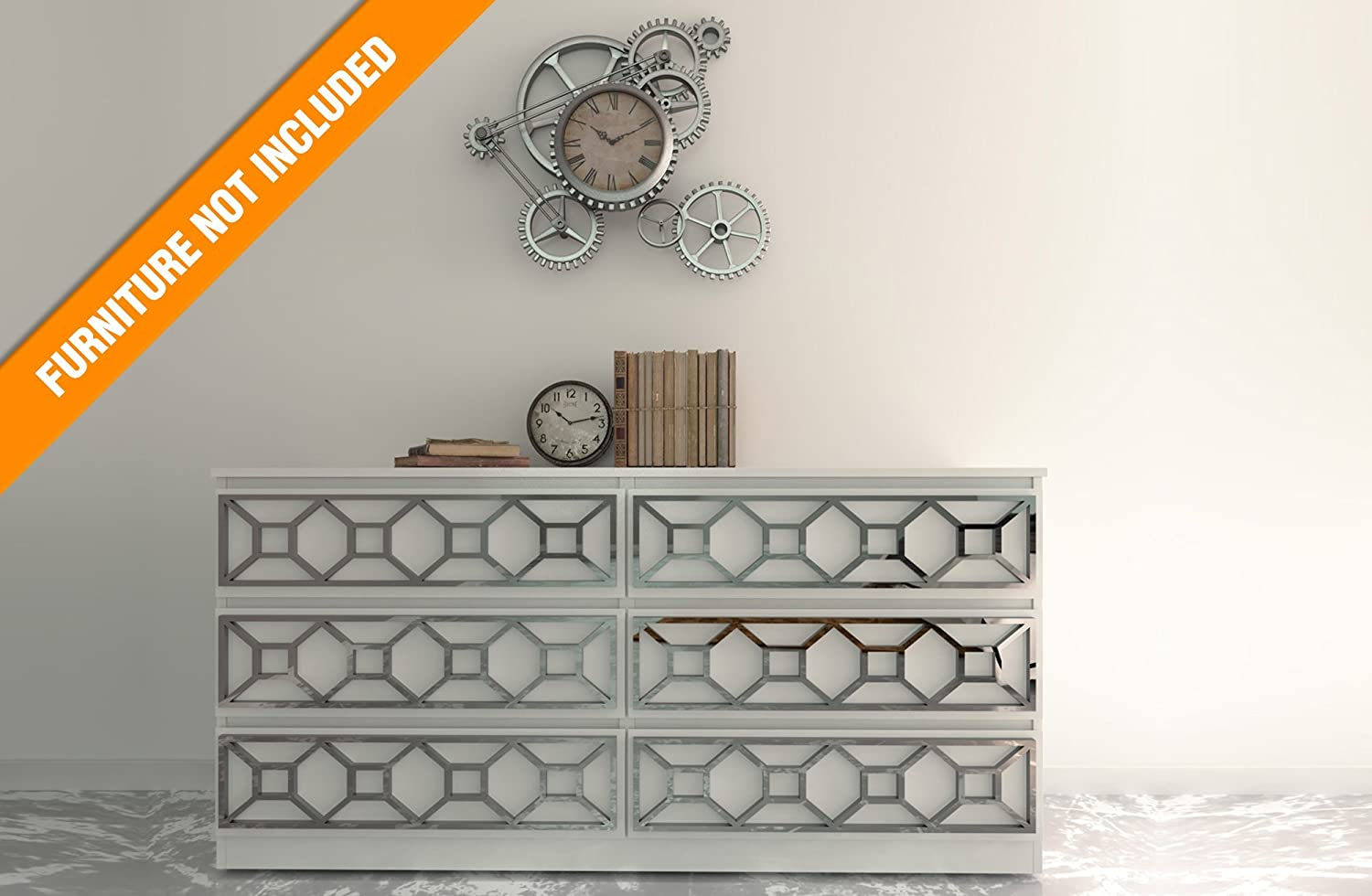 HomeArtDecor | Coimbra Overlay | Suitable for IKEA Malm | High Quality Overlay | Color: PVC White/Paintable, Golden Mirror, Silver Mirror, Brushed Silver | 3D Panels | Overlays| Refurbish