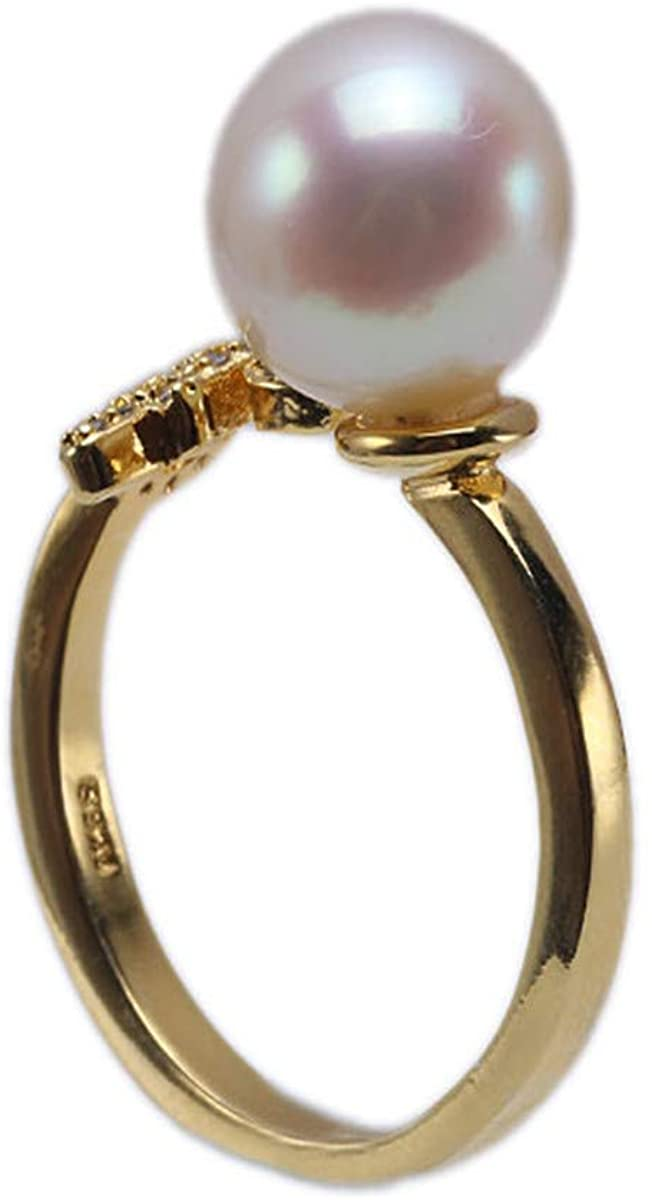 JYX Pearl Zodiac-style Genuine 9mm White Akoya Seawater Pearl Ring 925 Sterling Silver Plated Gold Animal Design Adjustable Rings