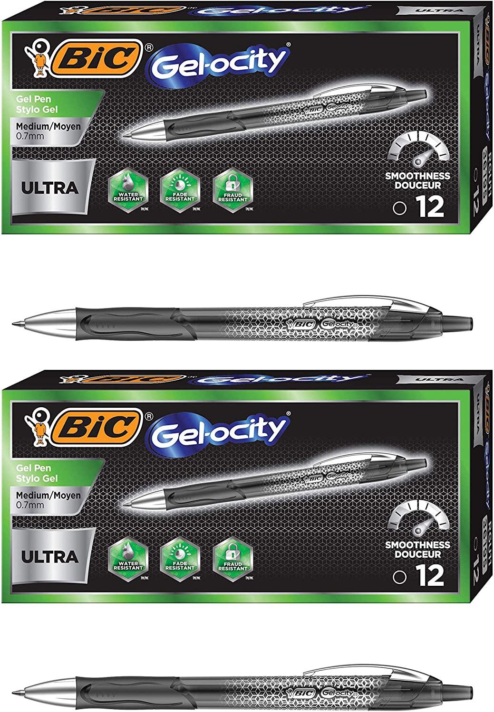fds Gel-ocity Ultra Retractable Gel Pen, Black, 12-Count Pack of 2
