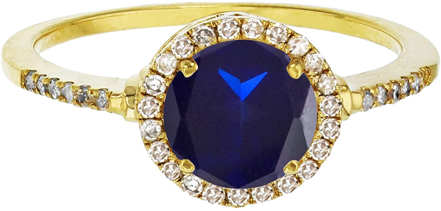 Sterling Silver Yellow 7mm Round Cr Blue Sapphire & Cr White Sapphire Halo Ring