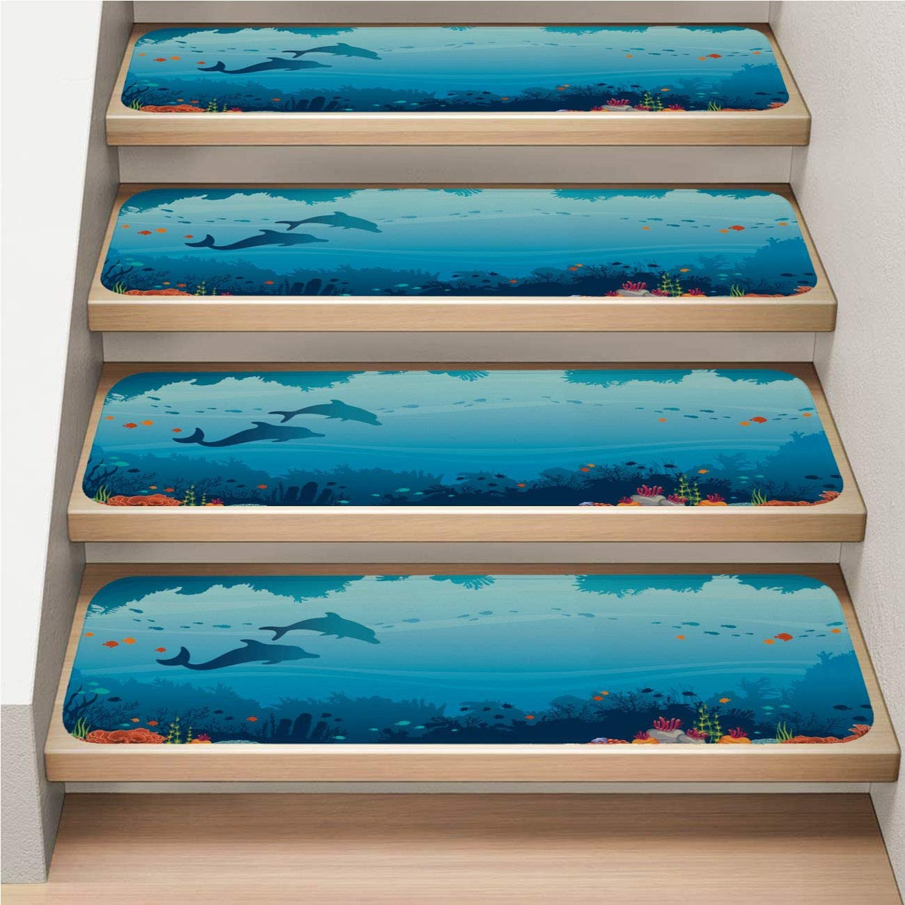 Coral 5-Pack Stairway Carpet Rugs, Non-Slip, Soft,Dolphins Coral Reef Fish and Underwater Sea,rotection Kids, Elders, and Dogs Safety