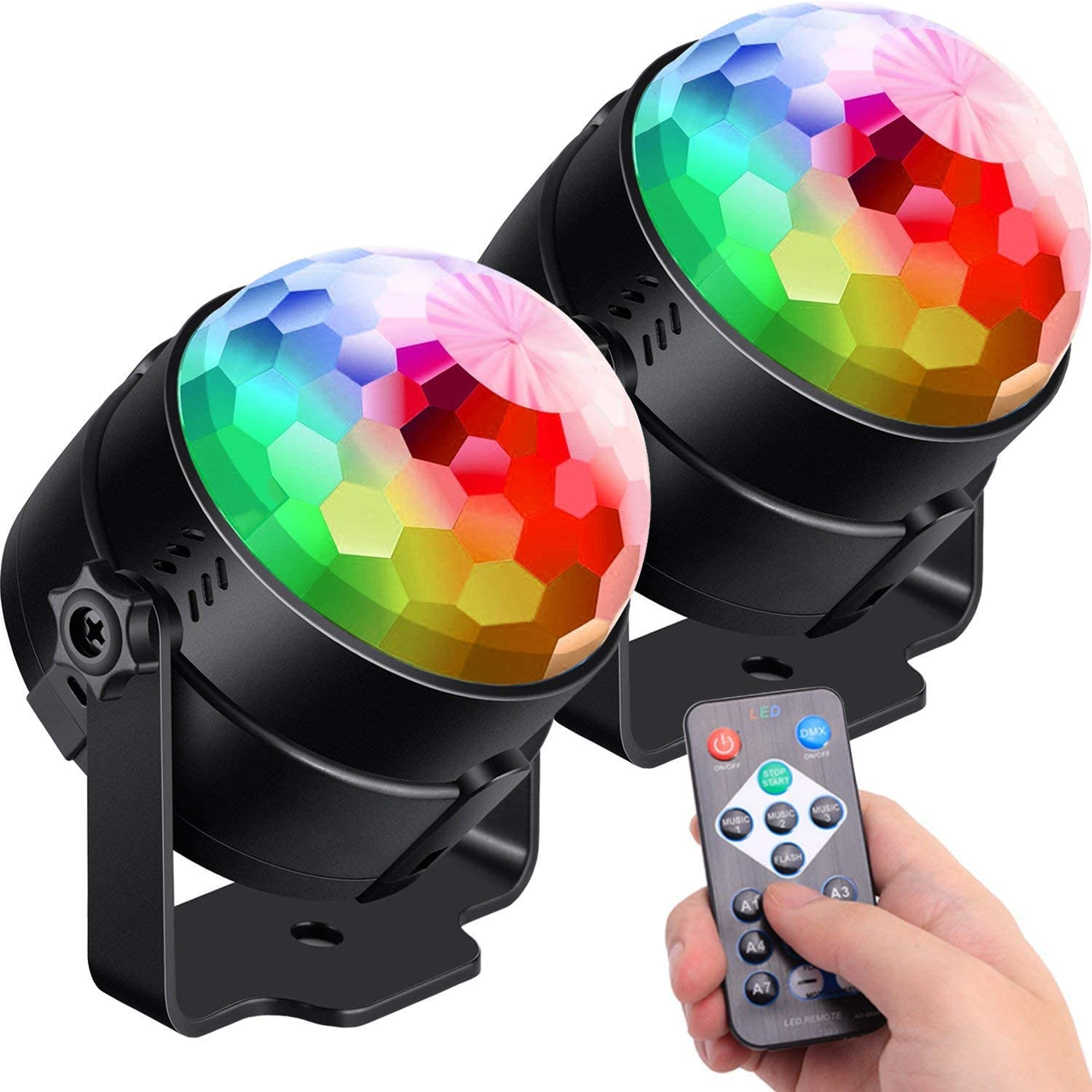 [2-Pack] Sound Activated Party Lights with Remote Control Dj Lighting, RBG Disco Ball Light, Strobe Lamp 7 Modes Stage Par Light for Home Room Dance Parties Bar Karaoke Xmas Wedding Show Club (2 PCS)