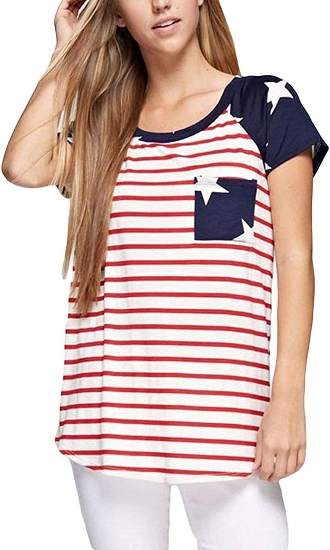 Women Summer Casual T-Shirt American Flag Stripe Short Sleeve Tee Shirts Blouse Loose Tops