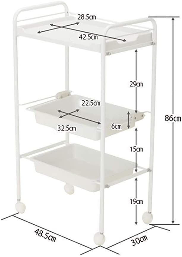 KFDQ Medical Supplies Rack,Hospital Trolley,Medical Cart Tool 5 Tier Abs Beauty Salon Cart with Drawer, Mobile Medical Cart, White Spa Rolling Trolley for Stylist Hairdresser, 48.53086Cm