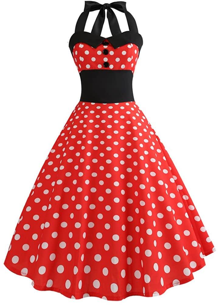 Women Summer Dreses Elegant Print Sleeveless Halter Vintage Tea Dress with Belt Evening Party Ball Gown Sundress