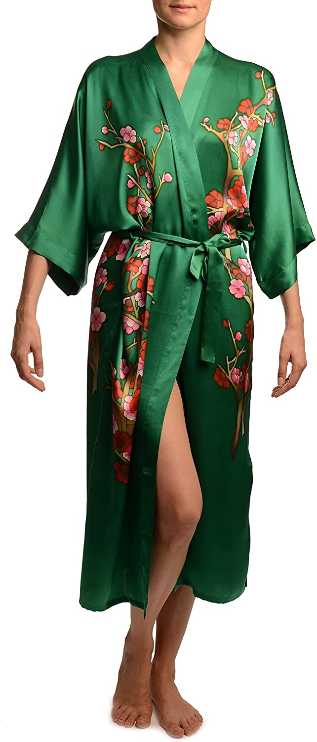 Green with Sakura Bloom Luxurious Silk Dressing Gown (Robe) - Dressing Gown