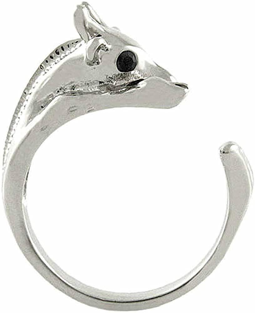 Ellenviva Giraffe Animal Wrap Ring White Gold-Plated Shiny Silver Tone