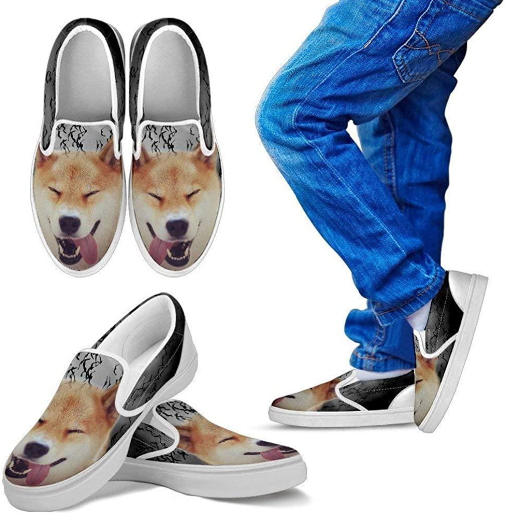 Pet Animal Designs Shiba Inu Print Slip Ons for Kids