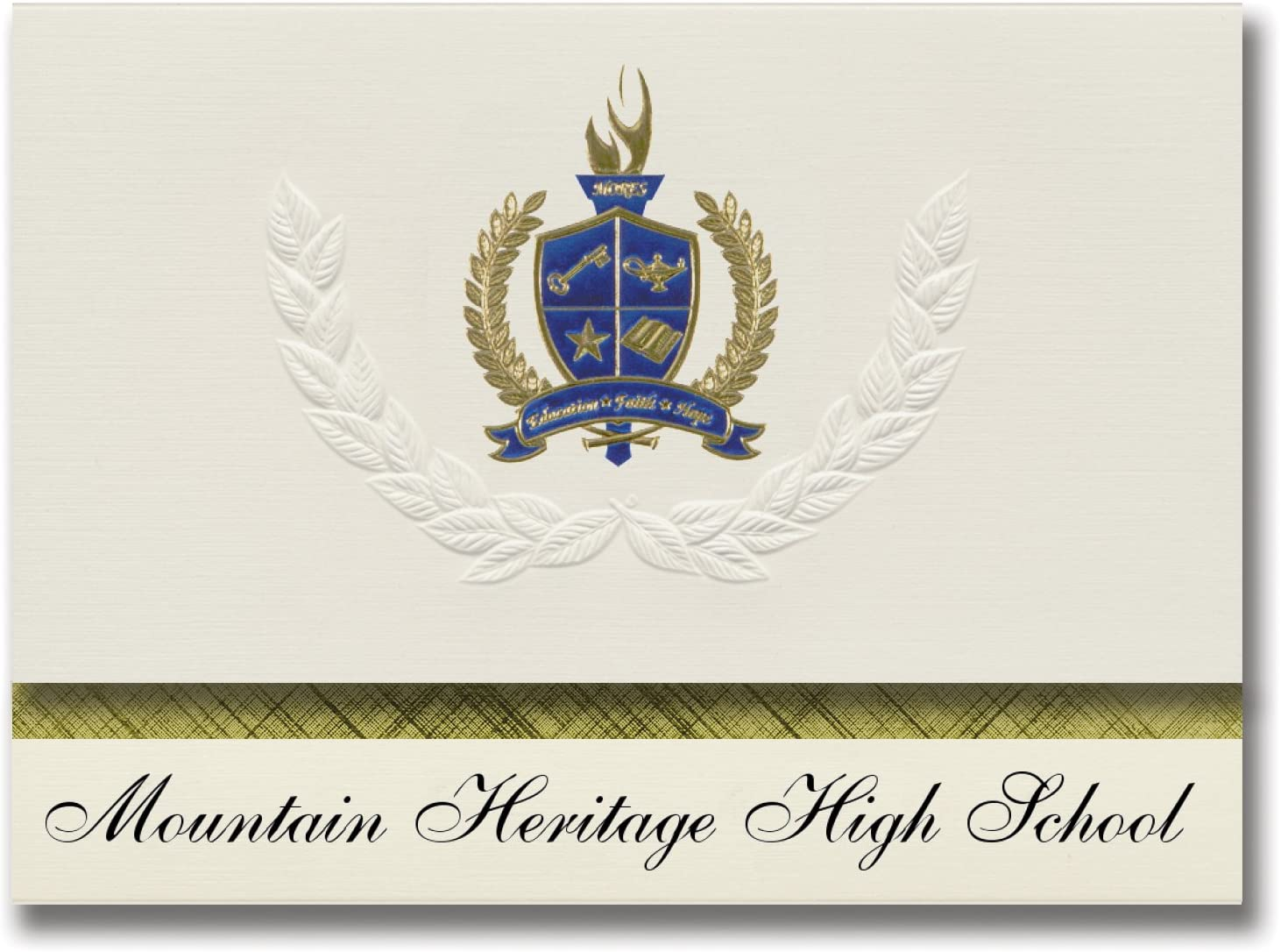 Signature Announcements Mountain Heritage High School (Burnsville, NC) Graduation Announcements, Presidential style, Basic package of 25 with Gold & Blue Metallic Foil seal