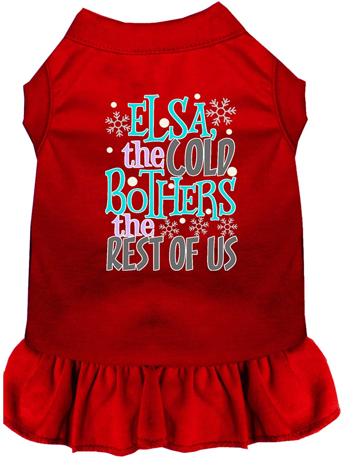 Mirage Pet Product Elsa, The Cold Screen Print Dog Dress Red Med