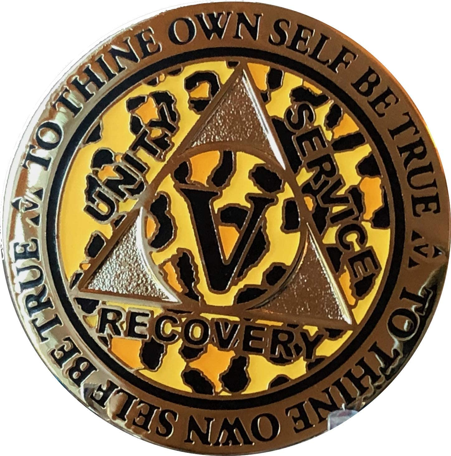RecoveryChip 5 Year AA Medallion Reflex Leopard Gold Plated Animal Print Chip