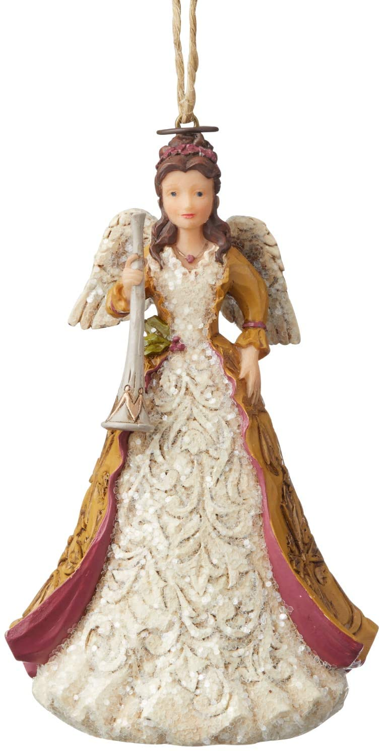 Enesco Jim Shore Heartwood Creek Victorian Angel with Horn Hanging Ornament, 4.5 Inch, Multicolor