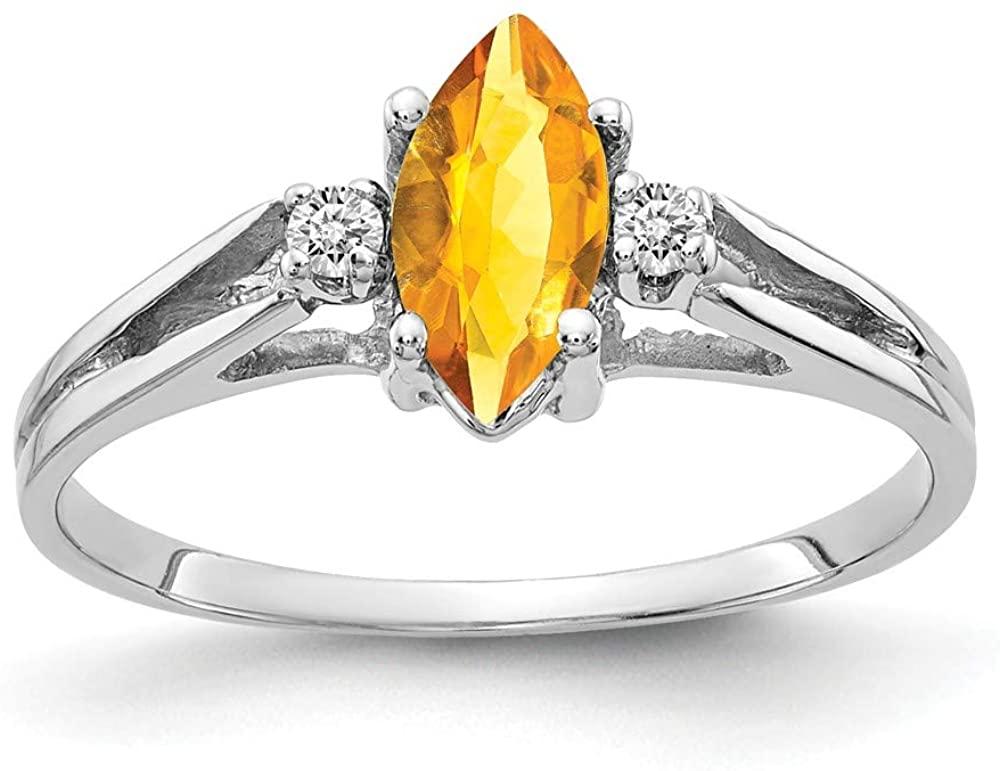 Solid 14k White Gold 8x4mm Marquise Citrine Yellow November Gemstone Diamond Engagement Ring (.04 cttw.)