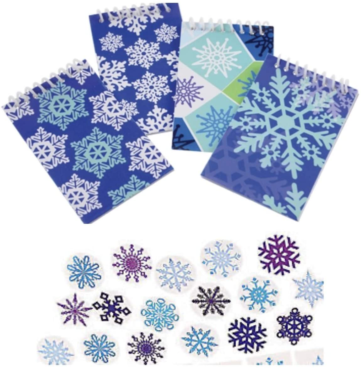 2 Dozen (24) Snowflake Mini NOTEBOOKS & 48 Stickers - Seals - Christmas Winter Holiday - Classroom Teacher School Supplies Party Favors Stocking Stuffers
