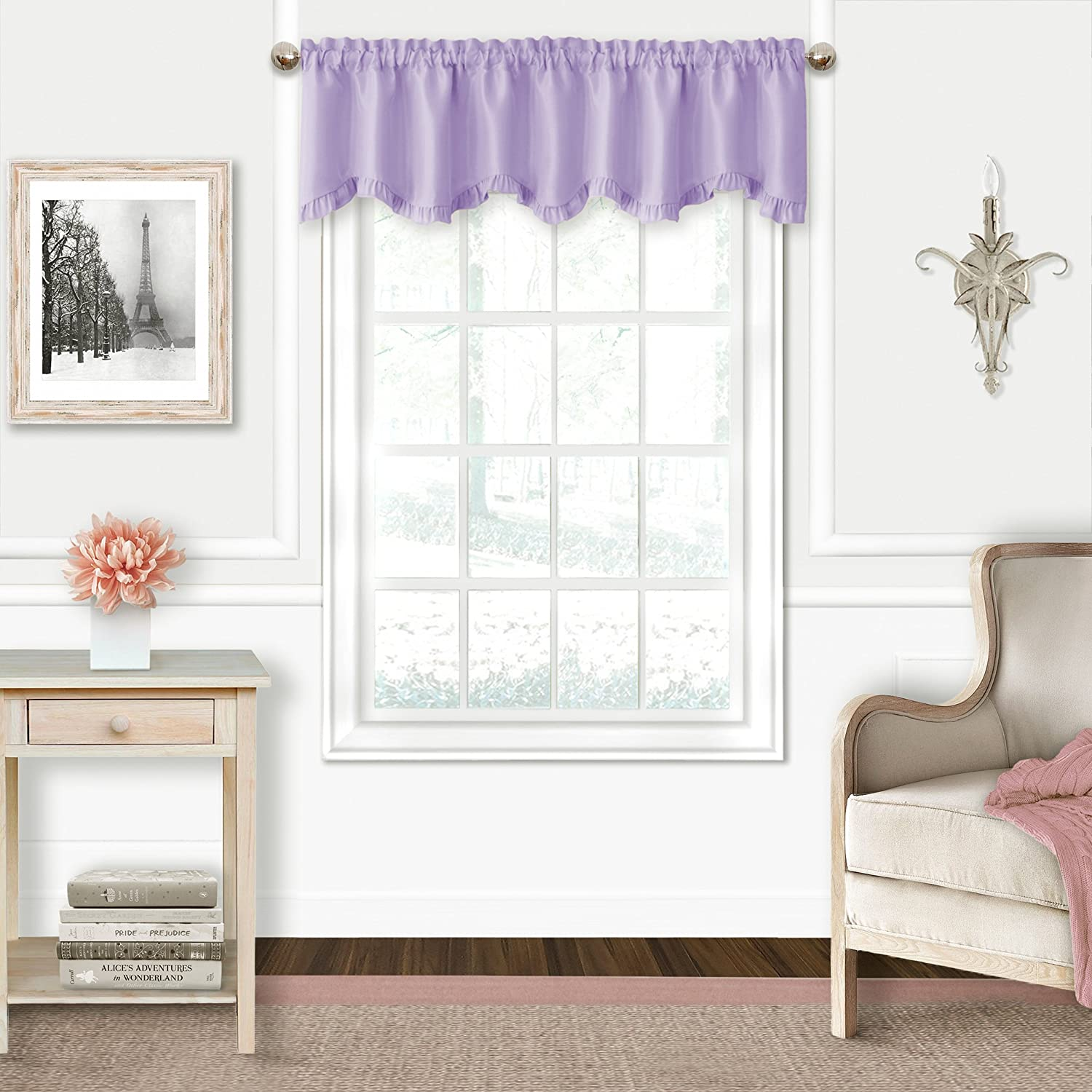Elrene Adaline Kids Pastel Faux Silk Solid Color Blackout Room Darkening Thermal Insulating Window Curtain/Single Scalloped Ruffled Valance by, 52 Inch Wide X 15 Inch Deep, Lavender