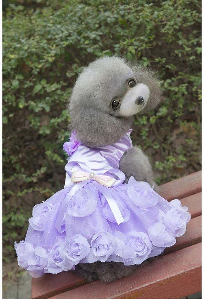 DSstyles Pet Dress,Pet Clothes Spring Summer Dog Rose Bowknot Polyester Princess Dress