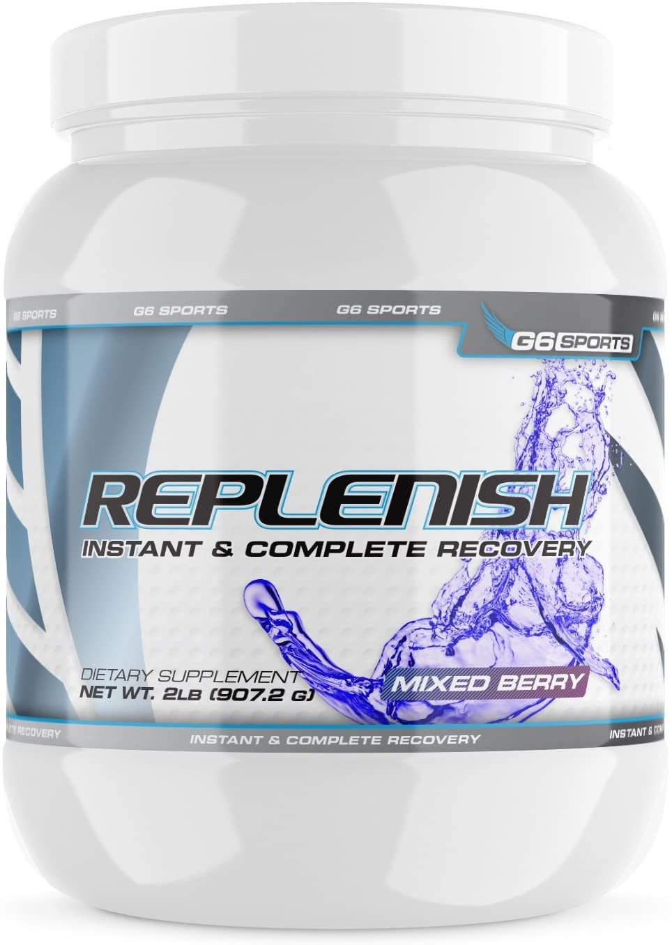 G6 Sports Nutrition Replenish Instant & Complete Recovery (Post Workout Formula, 11g of BCAAs & EAAs, 20g Whey Protein, 1000mg Creatine MagnaPower, Zero Refined Sugars) – 2lb Jar – Mixed Berry