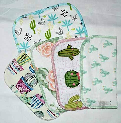 1 Ply Printed Flannel 8x8 Inches Little Wipes Set of 5 Cactus Cuties