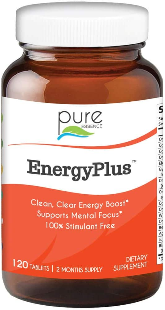 Pure Essence Labs Energy Plus, Caffeine Free, All Natural Herbal Energy and Focus Supplement, 120 Tablets