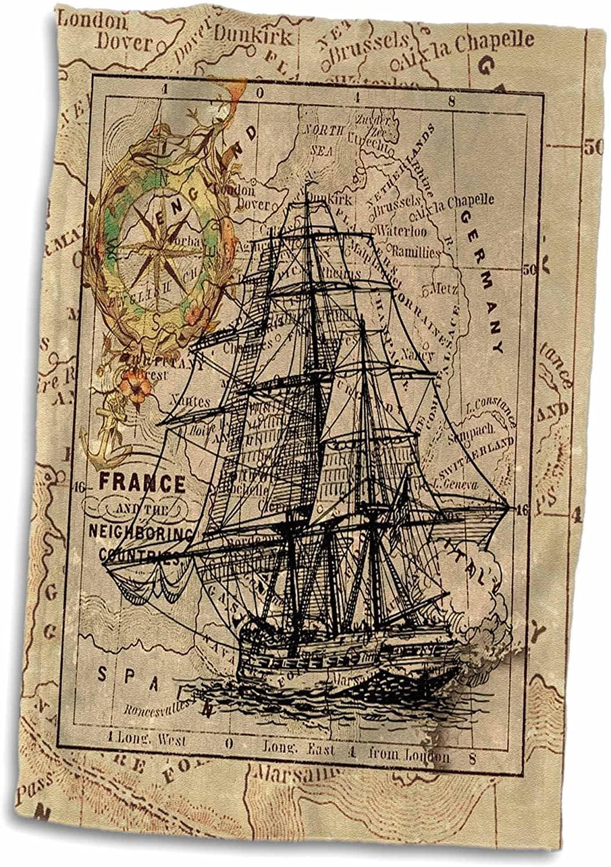 3D Rose Image of Black Ghost Ship On Vintage European Map Hand Towel, 15