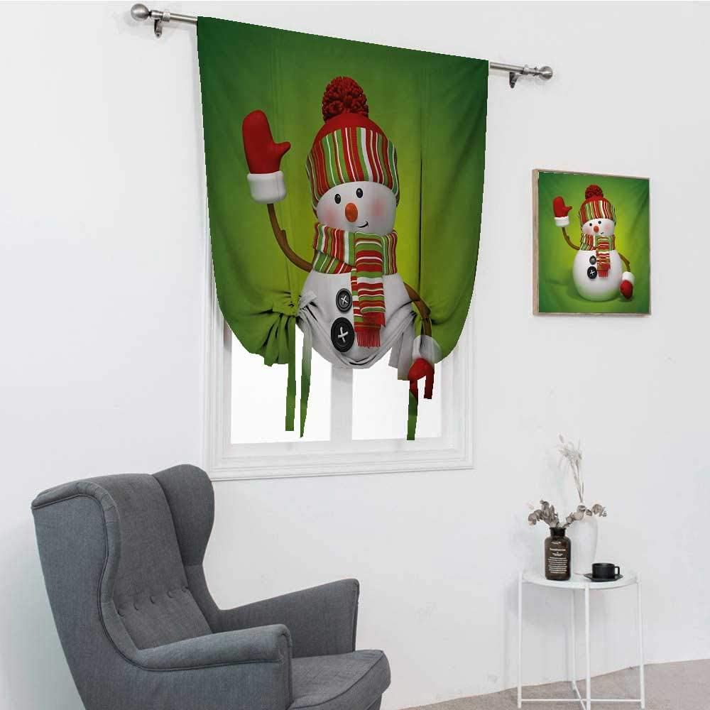 Snowman Kids Curtains, 3D Style Fun Character Greeting Traditional Colors Seasonal Celebration Theme Tie Up Shades for Window, Green Red White, 35