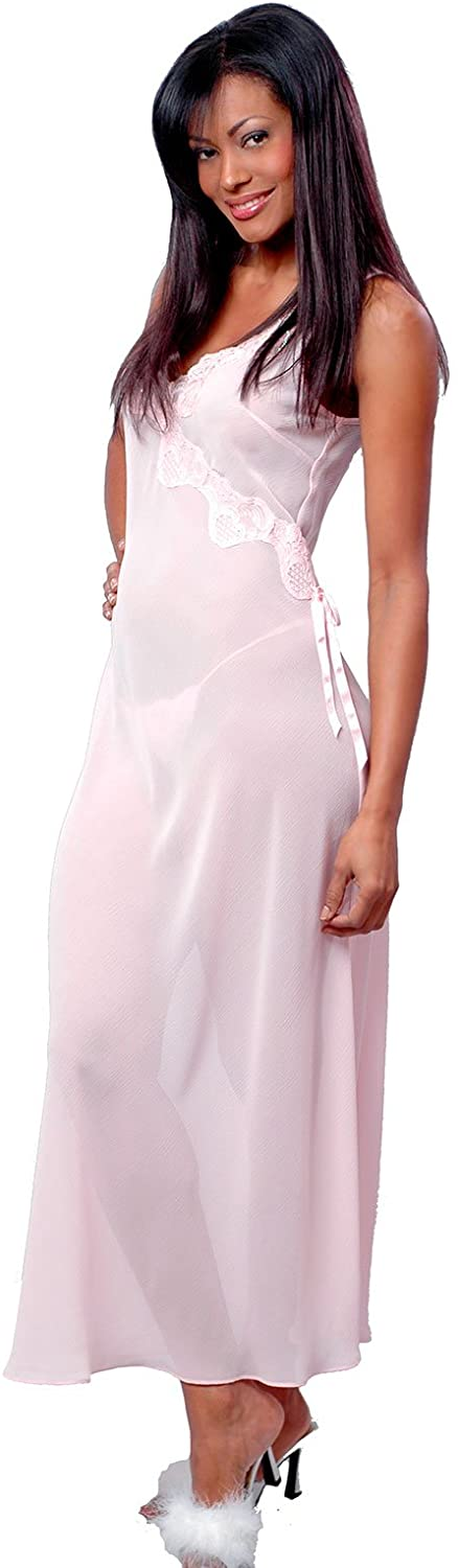 Vx Intimate Women's Bridal Crinkle Chiffon Nightgown with G-String #6048