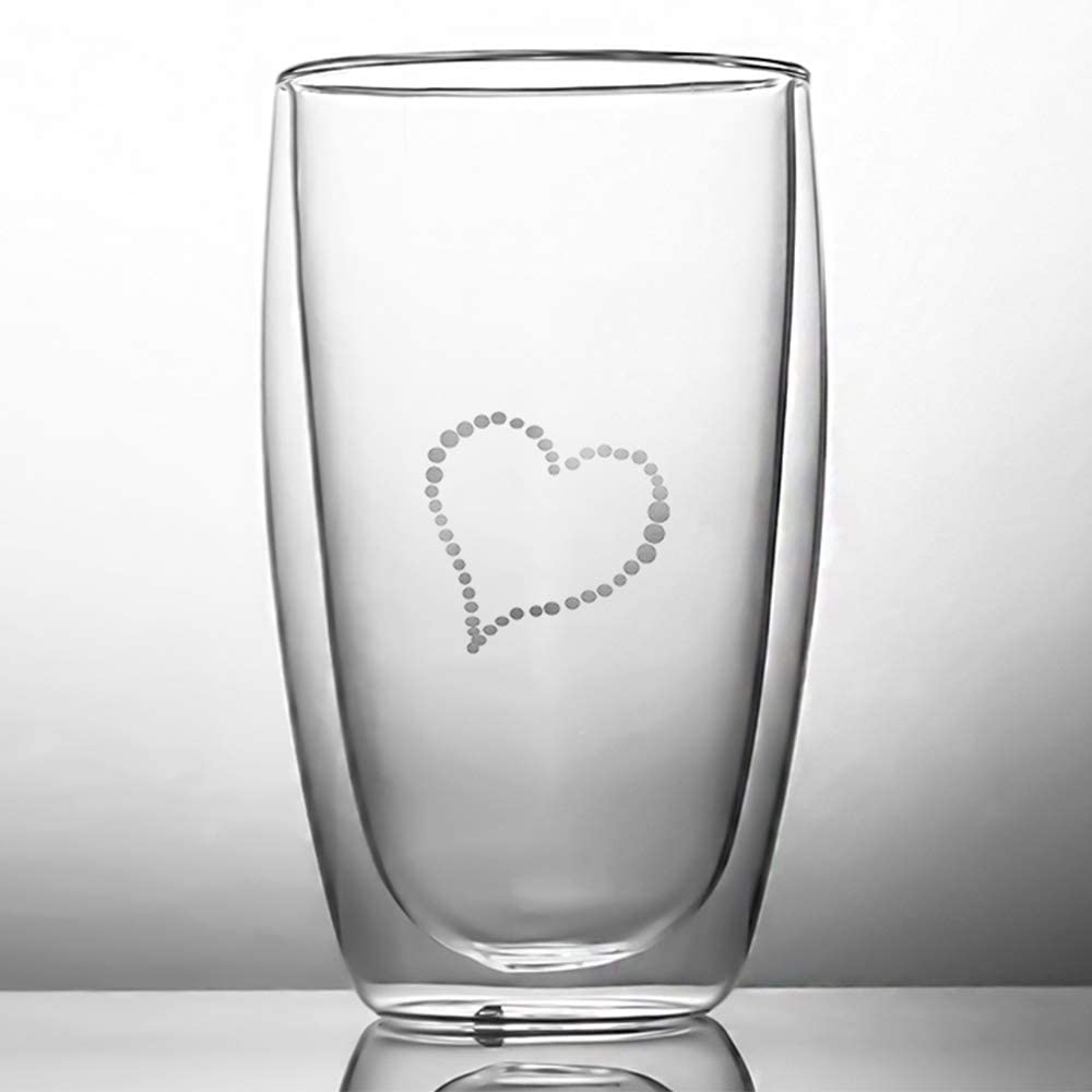 NAPPA Double Walled Glass Coffee Mugs Cups Water Glassware Hand Cut Drinking Glasses Natural Paradise Series (heart)