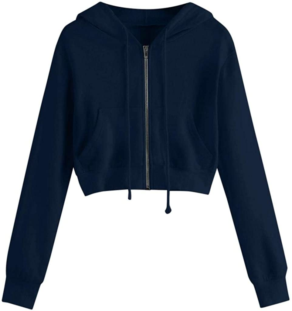 terbklf Zip up Sweatshirts for Women Womens Active Long Sleeve Zip Up Hoodie with Pockets Spring Clothes for Women