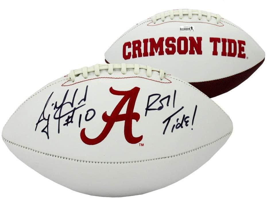 A.J. McCarron Autographed/Signed Alabama Crimson Tide Logo Football with Roll Tide Inscription - Autographed College Footballs