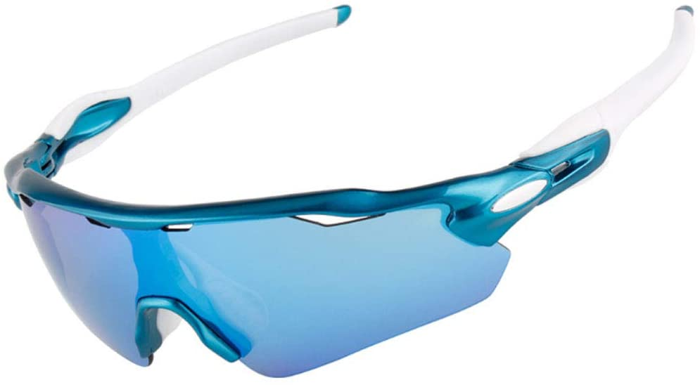 GUO XINFEN Cycling Glasses Outdoor Sports Polarized Glasses Windproof Sand Anti-UV Driving Night Vision Goggles (Color : Blue)