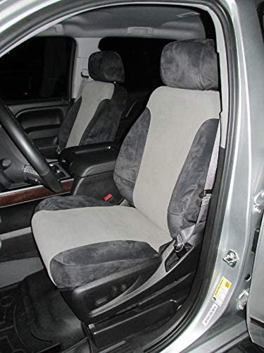 Durafit Seat Covers 2014-2018 Chevy Silverado/GMC Sierra Front Buckets. Has Side Impact airbags in seat.Rear 60/40 with A/R Made in Comfortable Black and Gray Velour