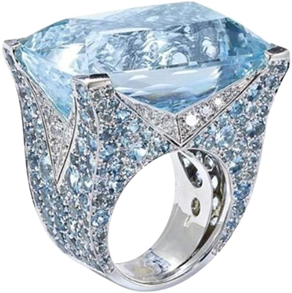 Luxury Handmade Sea Blue Sapphire Diamond Cocktail Party Wedding Ring Jewelry