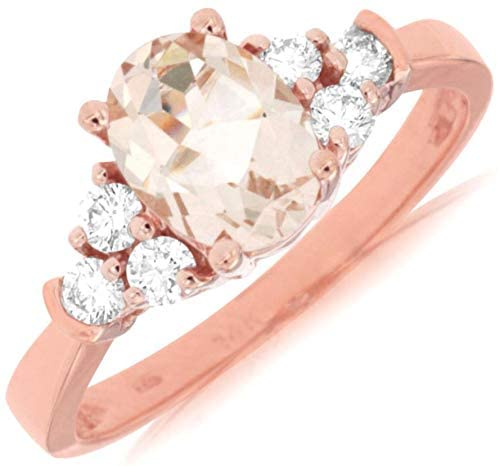 1.32CT DIAMOND & AAA MORGANITE 14KT ROSE GOLD 3D OVAL & ROUND ENGAGEMENT RING