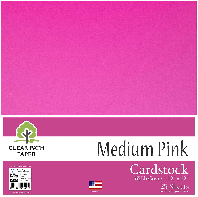 Medium Pink Cardstock - 12 x 12 inch - 65Lb Cover - 25 Sheets